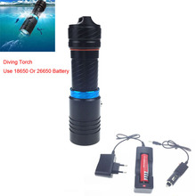 VICMAX waterproof led flashlight XM-T6 2000LM Torch Underwater lighting diving Leds lighting Flashlight + 18650 battery+Charger