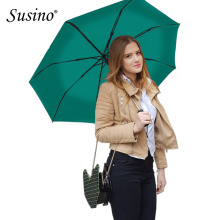 Susino Windproof Umbrellas Fully-automatic Open Sturty Metal Pongee Compact Durability Three-folding Umbrella S3511pm(China)