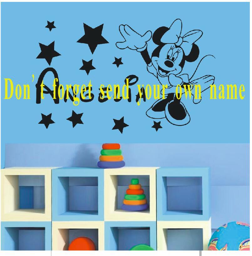 HTB1AWV5cb3nBKNjSZFMq6yUSFXao - YOYOYU Mickey Minnie Mouse Custom Name wall sticker For Kids Room