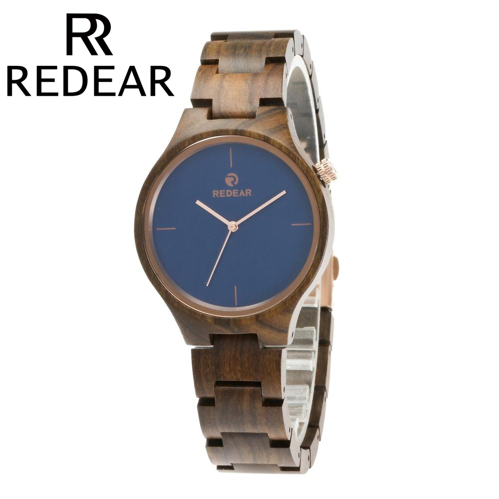 REDEAR 2017 Women Watches Men Watch Unisex Ebony Wooden Watches Brand Luxury Wood Watch with Size Adjustment Tool<br>