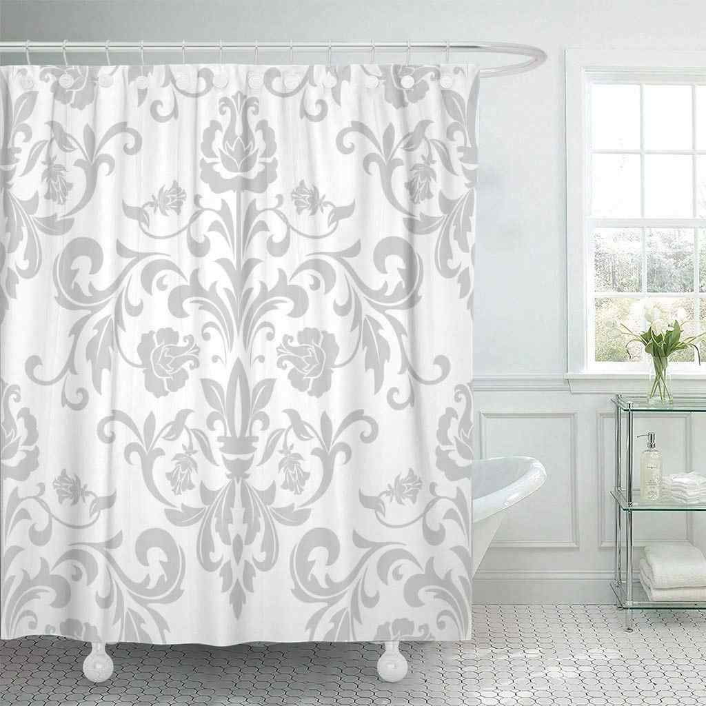 Fabric Shower Curtain With Hooks Damask In The Style Of