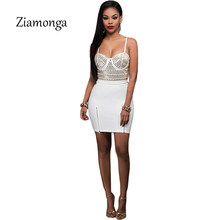 Ziamonga Black White Red Rhinestones Two Piece Mini Dress 2017 Sexy Straps  Backless Zipper Bodycon Bandage Women Summer Dress 559a1c192224
