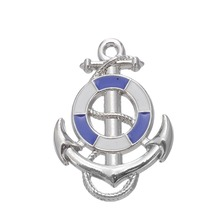 my shape 10Pcs Blue Pink Ship Wheel With Anchor Nautical Charm Pendant Fit Bracelet Making Men Jewelry For Maritime Explorer