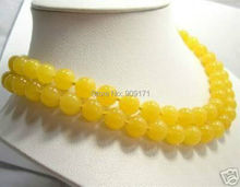 "Free Shipping>>>long 30""inch Natural 10mm Yellow stone Beads Necklace"