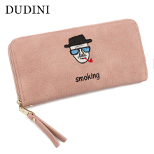 DUDINI PU Leather Women's Wallet Lovely Cartoon Embroidery Pattern Lichee Pattern Solid Color Purse 2 Fold Zipper Womens Wallet