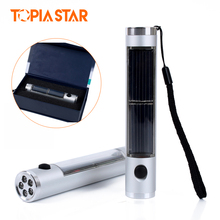 TOPIA STAR Aluminum Rechargeable 5 Led Mini Solar Flashlight, Powerful Brightness Torch