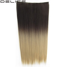 [DELICE] 24 Inches Women's Clip In One Piece Long Silky Straight Synthetic Dip Dye Ombre 5 Clips Hair Extensions