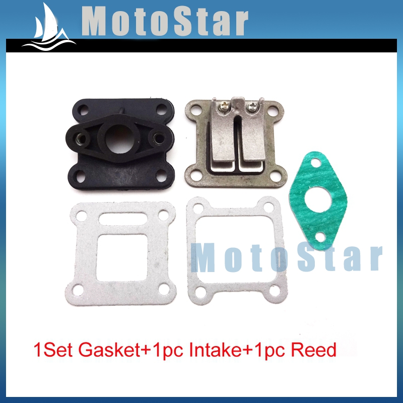 Pocket Bike Reed Valve Inlet Manifold + Gaskets For 2 Stroke 47cc 49cc Engine Carburetor Mini Moto Kids ATV Quad Dirt Bike(China)