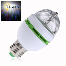 TSLEEN TD +Flash Sale+ NEW E27 3W Colorful Auto Rotating lampada Bulb Stage Light Party Lamp Disco MIni RGB LED Nightlight(China)