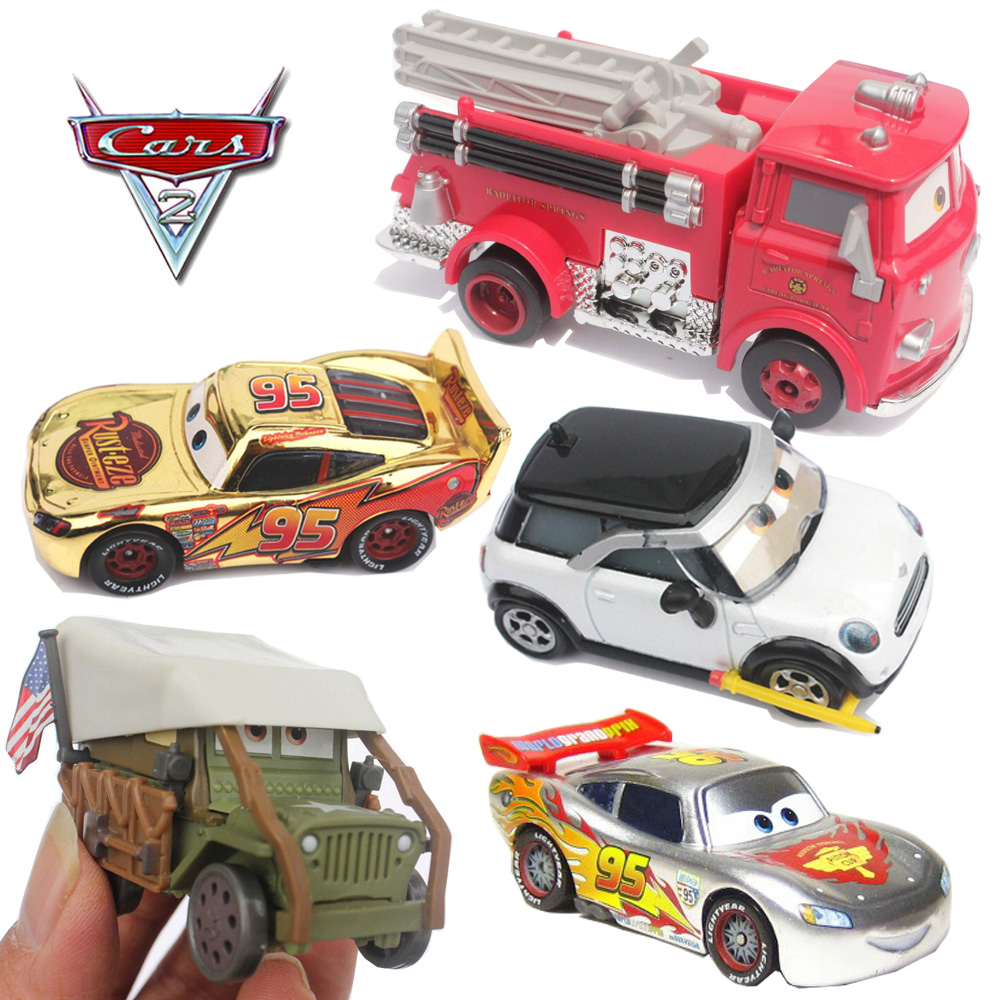 Pixar Cars 2 Red Firetruck Silver Chrome Diecast Metal Toy Car 1:48 Toy Car Children Collection Decoration Kids Toys