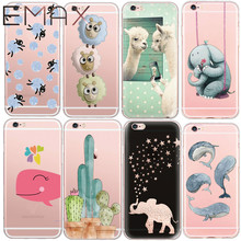Cactus Sheep Elephant Case Cover Transparent Soft TPU Back Cover For Apple iPhone5 5s SE 6 6s 6plus 7Cell Phone Cases Capa Para