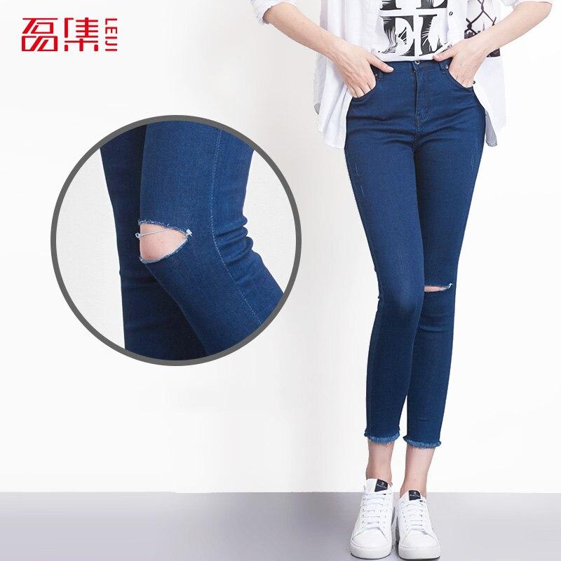 2017 Autumn Woman Ripped Hole Capris Jeans 40-120KG Plus Szie Women Jeans Fashion Tassels Jeans Pencil Pants Femme Denim Jeans