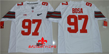 Free Shipping Nike 2017 Ohio State Buckeyes Joey Bosa 97 Diamond Quest College Footballly Boxing Jersey - White(China)