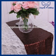 RU009J hot sale 2017 cheap fancy weddding sequence decorative brown coffee sequin table runner