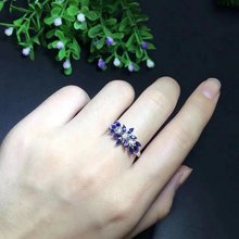 Fidelity Natural 2*4mm sapphire Ring s925 sterling silver petal fine Jewelry for women party Natural blue gemstone(China)