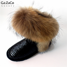 Buy G&Zaco Luxury Snow Boots Natural Fox Fur Cow Boots Waterproof Mid Calf Genuine Leather Winter Cotton Real Fur Boots Women Shoes for $53.83 in AliExpress store