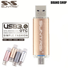 Suntrsi Metal USB Flash Drive Customized logo USB 3.0 OTG Pen drive 64gb 16gb 32gb USB Stick 8gb Pendrive For PC/Android Phone