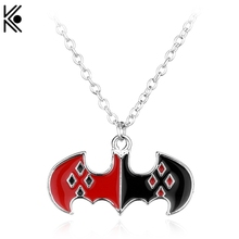 Wholesale The Batman Suicide Squads Harley Quinn Logo Necklace Maxi Black and Red Enamel long necklace Steampunk Halloween gift(China)
