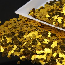 1PC(10g) Gold Hexagon Slices Nail Glitter Holographic Powder Dust Nail Art Manicure Women Make Up Tools Supply WY451(China)