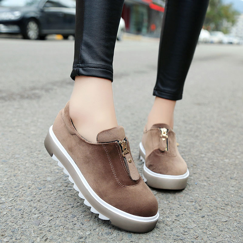 AD AcolorDay Classic Women Platform Shoes Solid Sweet Flock Round Toe Slip on Female Shoes Green Cozy Female Shoes 2017<br><br>Aliexpress