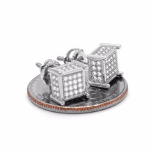 promotion Mens Silver Iced Out TC Cube Box Micro Pave 925 sterling silver Screw Back 4 Line Earrings