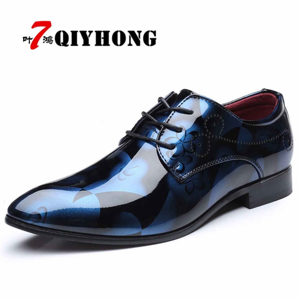Business Vintage Design Mens Fashion Print Patent leather Business Dress Shoes Mens Casual Lace-up Flats Plus size EUR size 48<br>