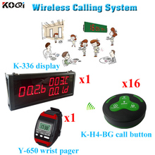 Dinner Bell Call System Order Taking Services Small Wireless Buzzer(1 display 1 wrist watch 16 call button)(China)