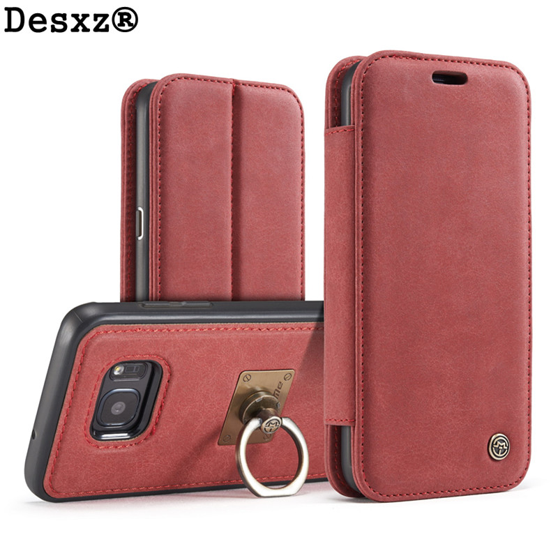 Desxz Leather Phone Case Samsung Galaxy S7 Luxury Magnetic Finger Ring Stander Phone Case Back Cover galaxy s7
