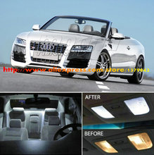 Free Shipping 4Pcs/Lot 12v car-styling Xenon White/Blue Package Kit LED Interior Lights For Audi (B8) A5/S5 Cabriolet