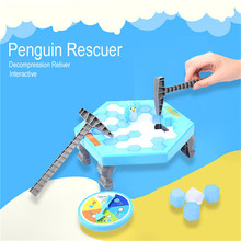 Mini Puzzle Table Games Penguin Ice Breaking Balance Ice Cubes Knock Ice Block Wall Toys Desktop Paternity Interactive Game(China)