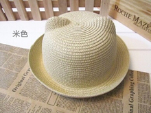 2016 New Baby Straw Hat Summer Kids Cat Ear Design Lovely Beach Cap Children Character Girls Boys Solid Sun Hat casquette(China)