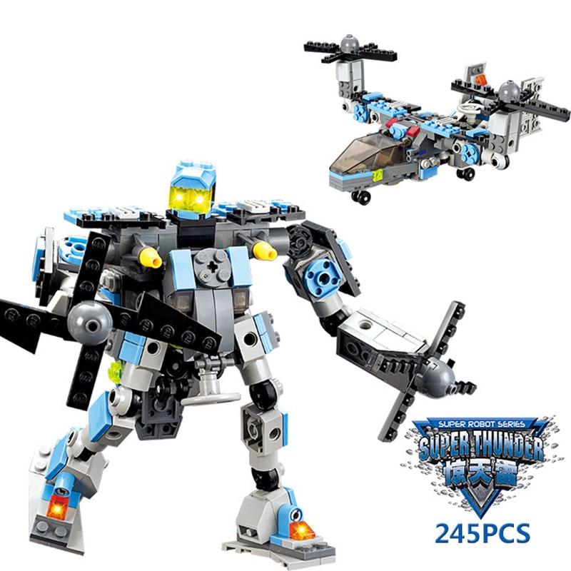 2016 High Quality 245 Pcs Transformation Robot Building blocks  Helicopter Model Bricks kids Birthday Gift<br><br>Aliexpress