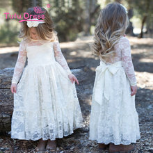 Girl Lace Long Dress With Sweet Flower For Age 3-7 Baby Kids Princess Wedding Prom Party White Cream Big Bow Long Sleeves Dress