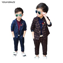 2016 Brand New Boys 2Pcs Plaid Formal Wedding Suit England Style Boys Blazers Kids Party Evening Tuxedos Boys Formal Suit, C154(China)