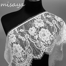 Misaya 3Yards/lot Eyelashes Lace Trim Flower Black White High Quality Lace Fabric Handmade DIY Clothes Accessories Width 23.5CM