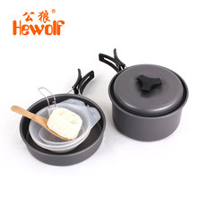 Hewolf 6pcs/set Aluminmum Portable Outdoor Camping Hiking Cookware Backpacking Cooking Picnic Bowl Pot Pan Kits for 1-2 People
