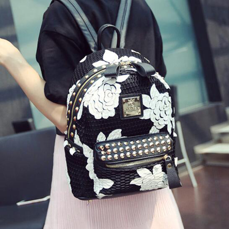 Transitional Florals Backpack For Teenage Girls Female Hollow Rivet Street Bags Women Cool Bolsa Free Shipping<br><br>Aliexpress