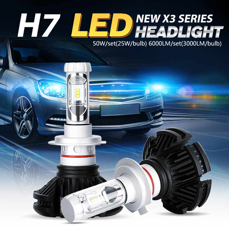 Oslamp CREE CSP Chips Car H7 LED Headlight Kits Vehicle LED H7 Bulbs 50W/Pair All-in-one Fog Lamps Fanless 3000K 6500K 8000K<br><br>Aliexpress