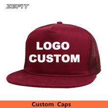 China Manufacturer 5 panel trucker cap snapback baseball nylon mesh hat Flat bill free 3D or flat embroidery logo
