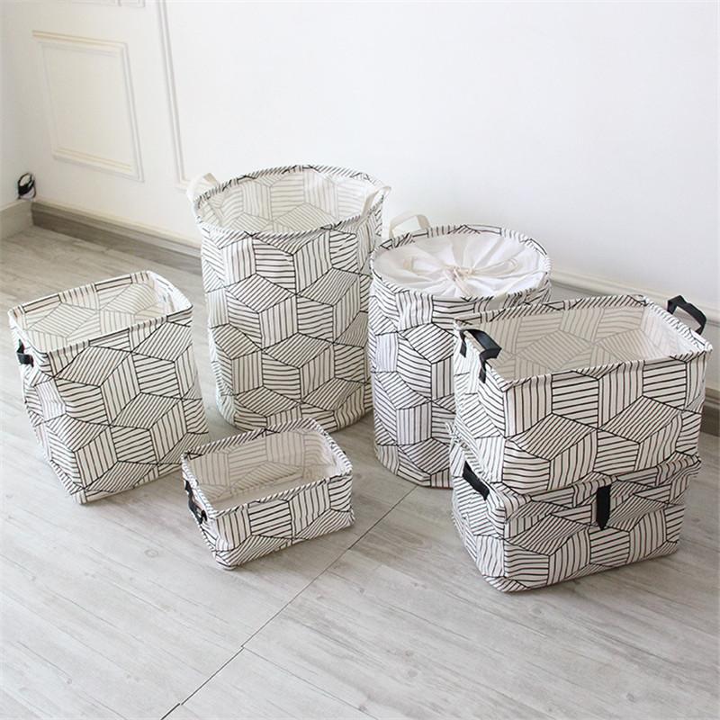 FullLove Home Storage & Organization Cotton Square Nordic Cosmetics Organizer Toys Storage Basket Black Geometric Storage Boxes 8