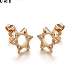 Something hollowed out six star stud earrings Earring Jewelry wholesale for Girls for Women Gift lady girl party(China)