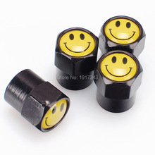 4Pcs Black Car Badge Emblem Wheel Tire Valve Cap Car Styling Tyre Dust Cover Replacement Cap For Yellow Smile Face(China)