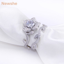 Newshe 2.3 Ct Silver Plated Wedding Ring Set For Women Engagement Band Rose Flower Gift Jewelry(China)