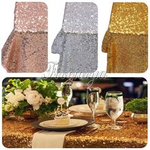 "5Pcs/Lot 40''x60"" Gold Silver Champagne Sparkly Sequin Rectangle Table Cover Tablecloth For Wedding Party Event Decor By express"