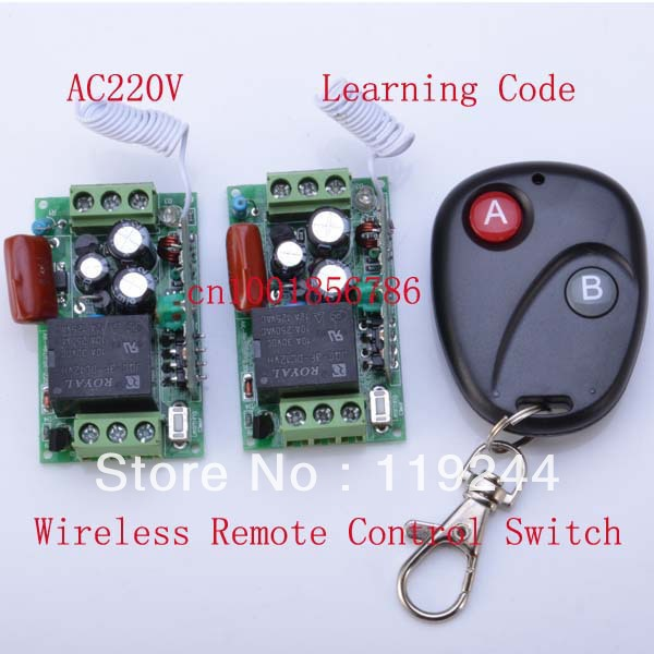 Receiver&amp;Transmitter 220V 1CH 10A Learning Code RF Wireless Remote Control Switch System M4/T4/L4 output state is adjusted<br><br>Aliexpress