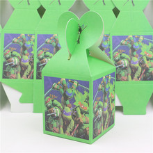 Birthday Party Decorate Souvenirs Supplies Ninja Turtles Printed Paper Favor Box Gift Candy Box  Baby Shower 8pcs