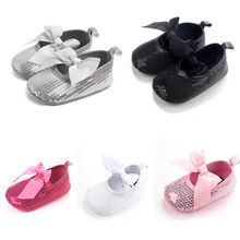 2017 Fancy Bling Bow Newborn Baby Girls Crib Shoes Toddler Sequins Lace Up Sneaker Prewalker(China)