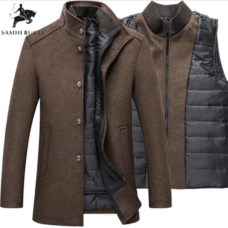 Wool Coat Jackets Single-Breasted Winter Mens Warm Thick And with Adjustable Vest title=