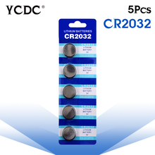 YCDC 8.28 Big Promotion Button battery CR2032 5 Pcs 3V Lithium CoCells Button Battery 5004LC ECR2032 DL2032 KCR2032 EE6227
