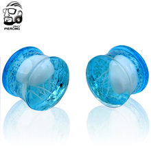 Glass Plug Double Flared Jellyfish Translucent Lake Blue ocean ear plugs piercing body jewelry wholesale 60pcs/lot 8-16mm